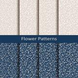 Reeks van acht naadloze vectorbloempatronen ontwerp voor verpakking, dekking, textiel stock illustratie