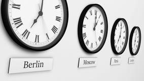 Reeks van acht ronde zwarte klokken van de kleurenwereld royalty-vrije illustratie