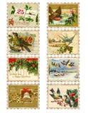 Reeks van acht uitstekende zegels van de de vogelhulst van Kerstmis Royalty-vrije Stock Foto