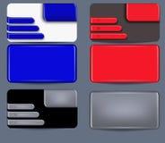 Reeks van adreskaartje met plastic elementen Royalty-vrije Stock Afbeeldingen