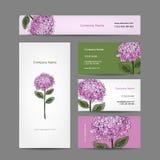 Reeks van adreskaartjesontwerp met hydrangea hortensiabloem Stock Fotografie