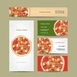 Reeks van adreskaartjesontwerp met pizza Royalty-vrije Stock Afbeelding