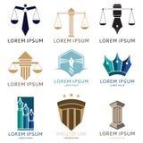 Reeks van advocaatembleem en het embleem van het advocaatbureau Royalty-vrije Stock Foto
