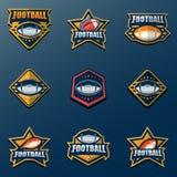 Reeks van Amerikaanse Voetbal Logo Template Vector Zieke Universiteitsemblemen Stock Foto's