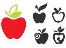 Reeks van appelpictogram op witte achtergrond wordt geïsoleerd die. Royalty-vrije Stock Foto