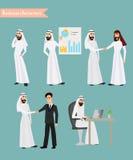 Reeks van Arabisch mensen bedrijfskarakter aan het bureauwerk Stock Foto