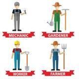 Reeks van arbeiders, Werktuigkundige, Tuinman, Bouwvakker en Landbouwer Royalty-vrije Stock Afbeeldingen