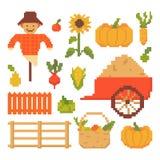 Reeks van Autumn Elements Isolated op Witte Achtergrond 8 beetjes Grafiek voor spelen Vectorillustratie in de stijl van de pixelk stock illustratie