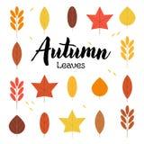Reeks van Autumn Leaves en het Van letters voorzien stock illustratie