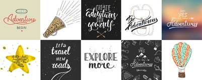 Reeks van avontuur en reis vectorhand getrokken unieke typografie Stock Afbeelding