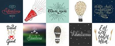 Reeks van avontuur en reis vectorhand getrokken unieke typografie Royalty-vrije Stock Afbeelding