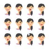 Reeks van Aziatisch emojikarakter De emotiepictogrammen van de beeldverhaalstijl Geïsoleerde meisjesavatars met verschillende gel vector illustratie