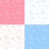 Reeks van 4 baby naadloos patroon Royalty-vrije Stock Afbeeldingen