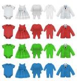 Reeks van babybodysuit kleding en jasje leeg malplaatje Stock Fotografie