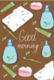 reeks van badzeep, handdoek, tandenborstel, tandpasta,  Stock Foto's