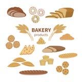 Reeks van bakkerij vers brood en gebakje Van de voedselinzameling en winkel elementen van gesneden brood, Franse baguette, roggeb vector illustratie