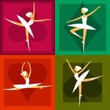 Reeks van 4 balletdansers in kleurrijke kaders Stock Afbeelding