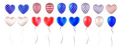 Reeks van ballons Amerikaanse vlag royalty-vrije illustratie