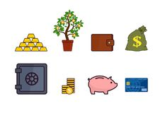 Reeks van bankwezen en financieel pictogrammen en symbool royalty-vrije illustratie