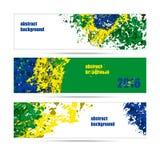 Reeks van banners abstracte achtergrond, de kleuren van de Braziliaanse vlag Stock Afbeelding