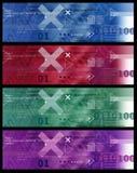 Reeks van Bannersbeeld/Internet Pictogrammen, Pijlen, HTML-code - Rood Blauwgroen Viooltje Stock Fotografie