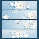 Reeks van bannersblauw met 3d bloemsakura en blad Royalty-vrije Stock Afbeeldingen