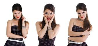 Reeks van beautyful meisje in retro kledingsfoto's Royalty-vrije Stock Afbeelding