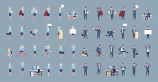 Reeks van Bedrijfsman en Vrouwenpictogram Mannelijke Vrouwelijke Beambte die Collectieve Verschillende Situatiesinzameling stelle royalty-vrije illustratie