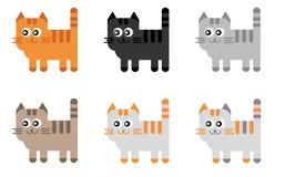 Reeks van 6 Beeldverhaal Cat Illustrations Vector Illustratie