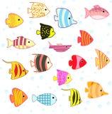 Reeks van beeldverhaal de tropische vissen Royalty-vrije Stock Foto