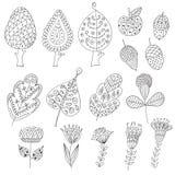 Reeks van beeldverhaal, krabbelbomen, bloemen, vruchten Royalty-vrije Stock Foto's
