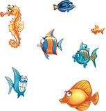 Reeks van beeldverhaal mariene vissen en vleet Stock Afbeeldingen