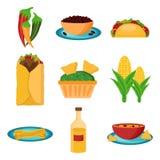Reeks van beeldverhaal Mexicaans voedsel Stock Fotografie