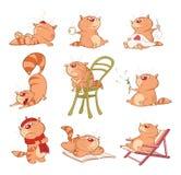 Reeks van Beeldverhaalillustratie Leuke Katten voor u Ontwerp Strippaginastrepen stock illustratie
