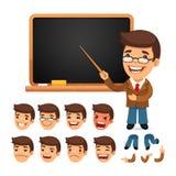 Reeks van Beeldverhaalleraar Character voor Uw Ontwerp Stock Foto