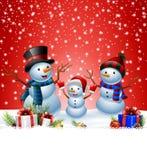 Reeks van beeldverhaalsneeuwman met Kerstmisachtergrond Stock Fotografie