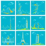 Reeks van Beroemd Monument rond de Wereld stock illustratie