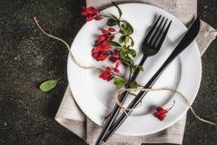 Reeks van bestek met de herfstdecoratie Royalty-vrije Stock Fotografie