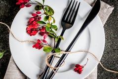 Reeks van bestek met de herfstdecoratie Royalty-vrije Stock Foto's