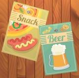 Reeks van Bier en Snack Royalty-vrije Stock Afbeeldingen
