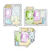 Reeks van binnenlandse flat, schets voor uw ontwerp Royalty-vrije Stock Afbeelding
