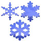 Reeks van blauw, glaseffect sneeuwvlokken over wit vector illustratie