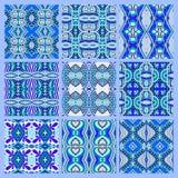 Reeks van blauw naadloos gekleurd uitstekend geometrisch patroon Stock Afbeeldingen