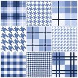 Reeks van blauw naadloos patroon Stock Foto's