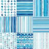Reeks van blauw naadloos patroon voor babyjongens Stock Afbeeldingen