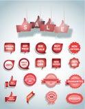 reeks van blauw verkoopbanner en etiket, markering Royalty-vrije Stock Foto's