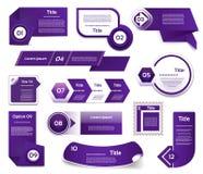 Reeks van blauw-violette vectorvooruitgang, versie, stappictogrammen Stock Foto