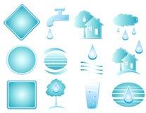 Reeks van blauw watervoorwerp Royalty-vrije Stock Afbeelding