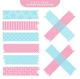 Reeks van blauwe en roze washiband met verschillende patronen Vector illustratie vector illustratie