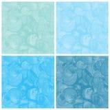 Reeks van blauwe geschilderde waterverf abstracte hand Stock Foto's